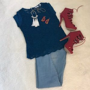 NY&C blue Embroided blouse